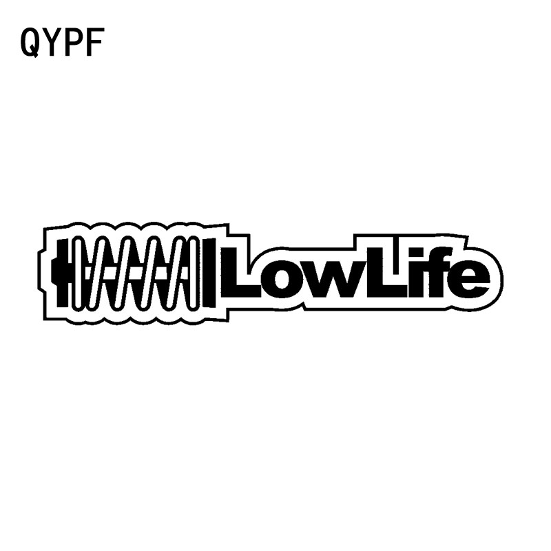QYPF 18CM*4CM Fashion Decoration LOW LIFE Vinyl Waterproof Car Sticker Decal Black Silver C15-1886