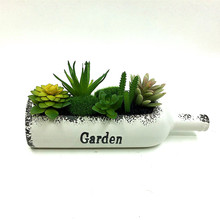 2017 1 Pcs simulation Land Lotus plant bonsai flower Artificial Succulent Beer bottle shape plants