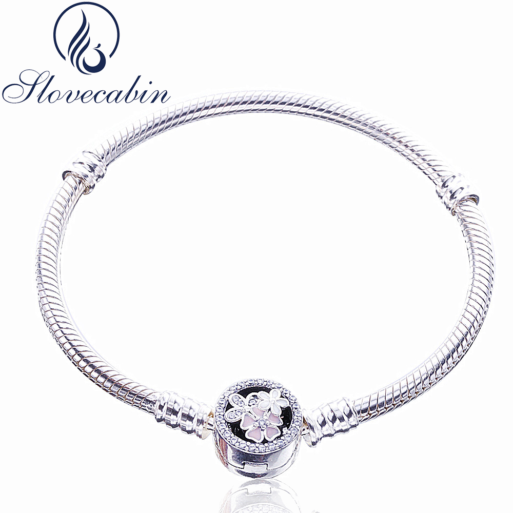 Slovecabin Classic 925 Sterling Silver Poetic Blooms CZ Clasp Bracelets For Women Pulseras Mujer Vintage Silver 925 Jewelry браслет на ногу pulseras tobillo bisuteria mujer tobilleras diy anklet