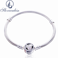 Slovecabin Classic 925 Sterling Silver Poetic Blooms CZ Clasp Bracelets For Women Pulseras Mujer Vintage Silver