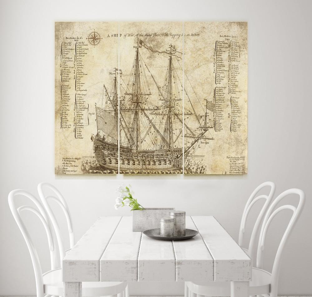 Old Battleship Blueprint giclee print Canvas Art Office Decor,Vinage art canvas unframed