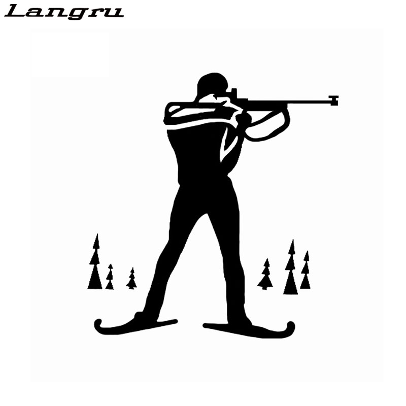 Langru Biathlon Cross Country Ski Race Rifle Sports Decor Car Sticker Graphic Vinyl Silhouette Jdm(China)
