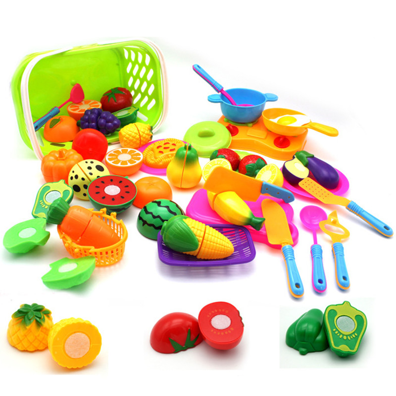 Cutting Pretend Play Set Educational Cooking Simulation Miniature Food Model Fruits And Vegetables Kids Kitchen Toy For Children