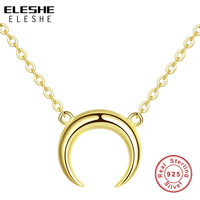 ELESHE Luxury Yellow Gold & 925 Sterling Silver Moon Pendant Necklace Romantic Wedding Necklace for Women Long Chain Necklace