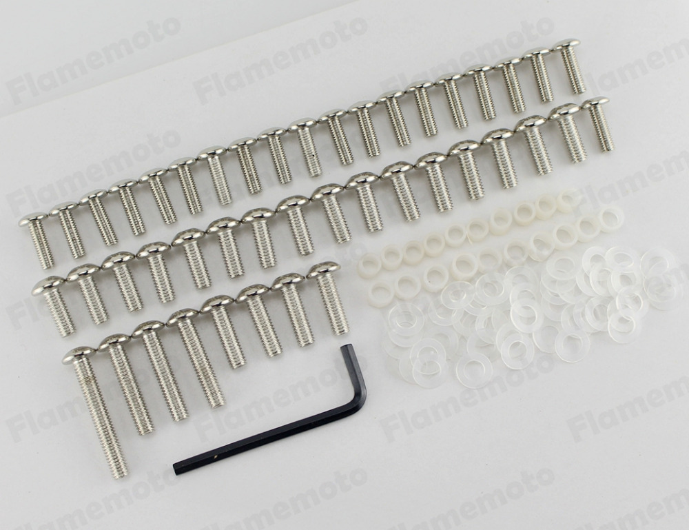 Chrome Motorcycle Sportbike Fairing Body Bolts Screw Kit for 2001-2006 Honda CBR 600 F4i Free shipping