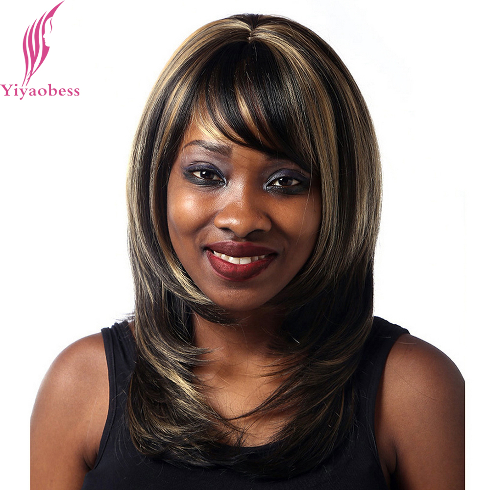 Yiyaobess 40cm Straight Dark Brown Highlights On Hair Heat Resistant Synthetic Middle Part Shoulder Length Womens Wigs With Bang