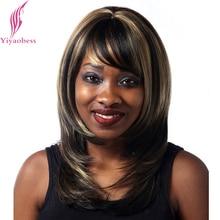 Yiyaobess 40cm Straight Σκούρο καφέ Χαρακτηριστικά για την αντοχή στη θερμότητα των μαλλιών Συνθετική Μέση Μέρος ώμου Μήκος Womens Περούκες με Bang
