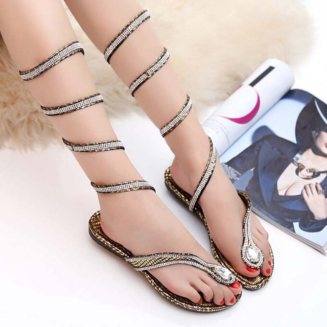 71ffb06780e4 Hot sale New Fashion Super Beautiful Snake grain around feet sandals female  foot ring belt crystal diamond sandals