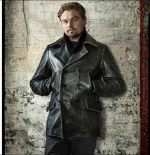 Free shipping.winter man thicker leather Jacket,mens genuine Leather coat.vintage gray cowhide clothes.long leather clothing
