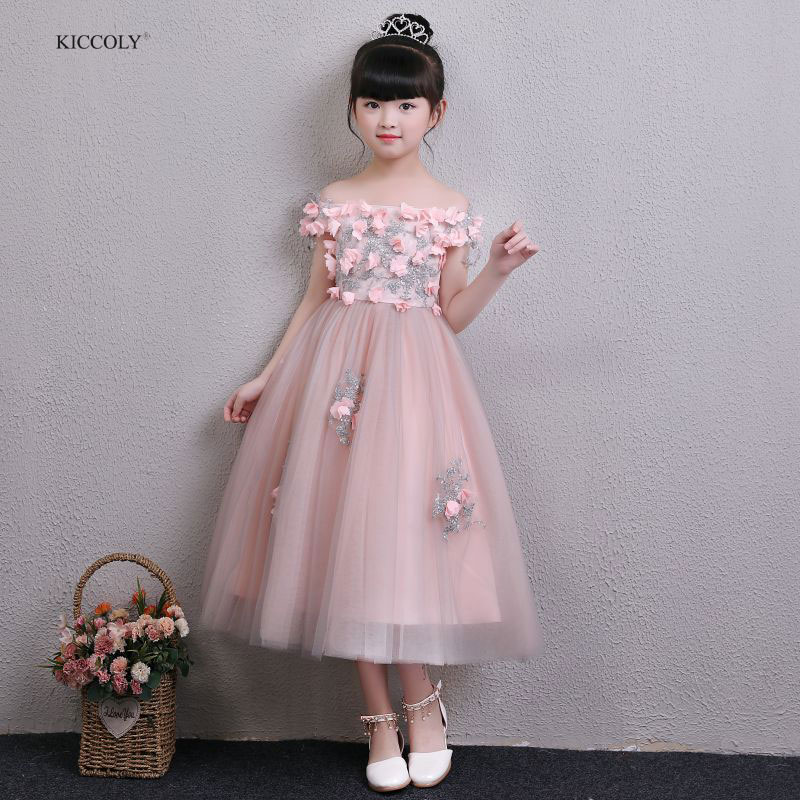 KICCOLY New Dress 2018 Applique Beaded Baby Flower Girl Wedding Dress Fluffy Gown Birthday Shoulderless Tutu Party Dress 1-14Y цена 2017