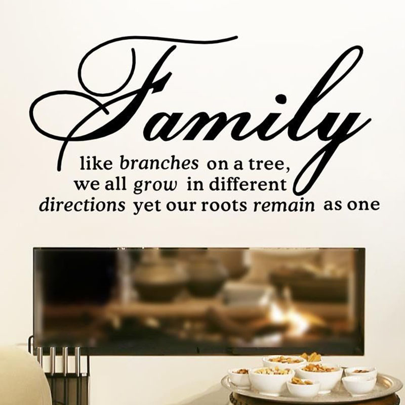 Dctop family like branches on a tree quotes wall stickers living room vinyl art wall text decal home decor in wall stickers from home garden on