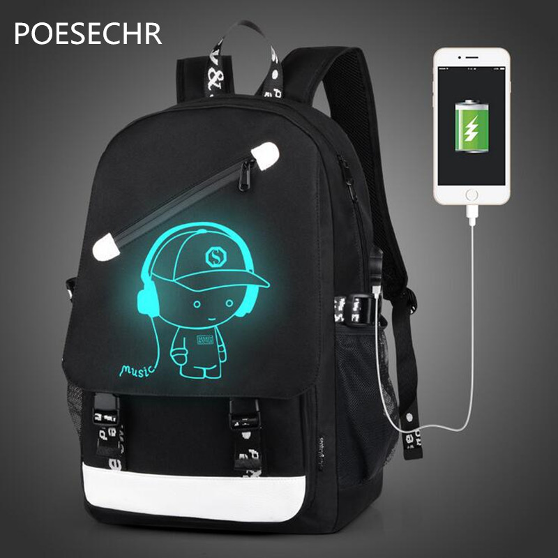 POESECHR  USB Charge Computer Bag Notebook Backpack Men Women Waterproof Laptop Backpack For Glowing Backpacks   tartan