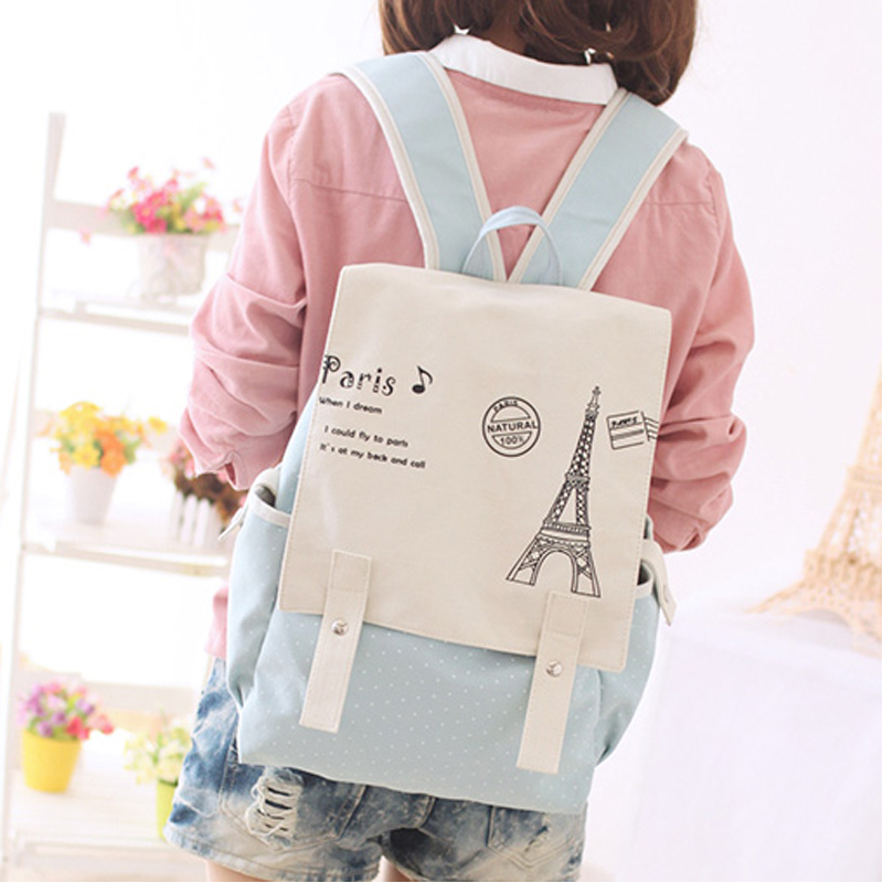 Canvas Backpack Bag South Korea version of high school students of junior middle school students travel