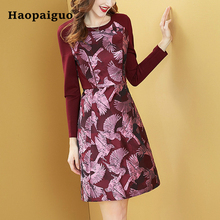 S-XXL Plus Size Women's Winter Dress New Year 2019 Long Sleeve Print Bird Vintage Dress Women Europe Fashion A-Line Autumn Dress