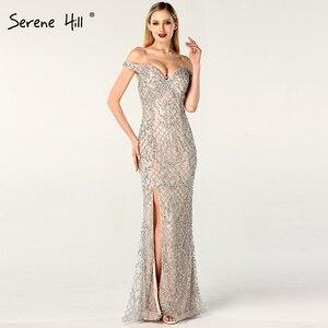 Image 4 - Prata fora do ombro split luxo sereia vestidos de noite 2020 diamante miçangas moda sereno hill la6653