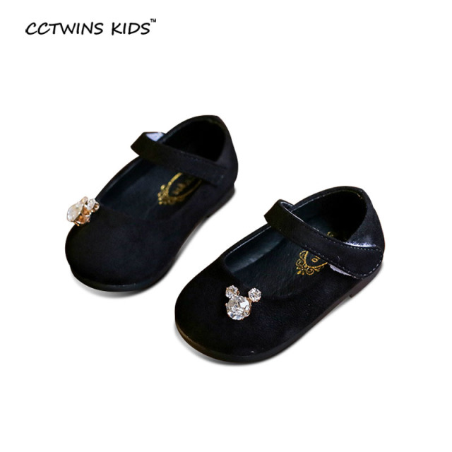 CCTWINS KIDS spring autumn children fashion flat pu leather baby rhinestone princess shoe for girl toddler brand mary jane