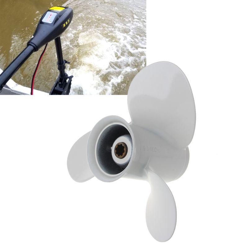 מזגנים סירה חיצון מדחף 9 1/4 x 10 סגסוגת אלומיניום עבור ימאהה 9.9-15HP 63V-45,945-00-EL 3 לבן להבים 8 שגם Tooth R-סיבוב (4)