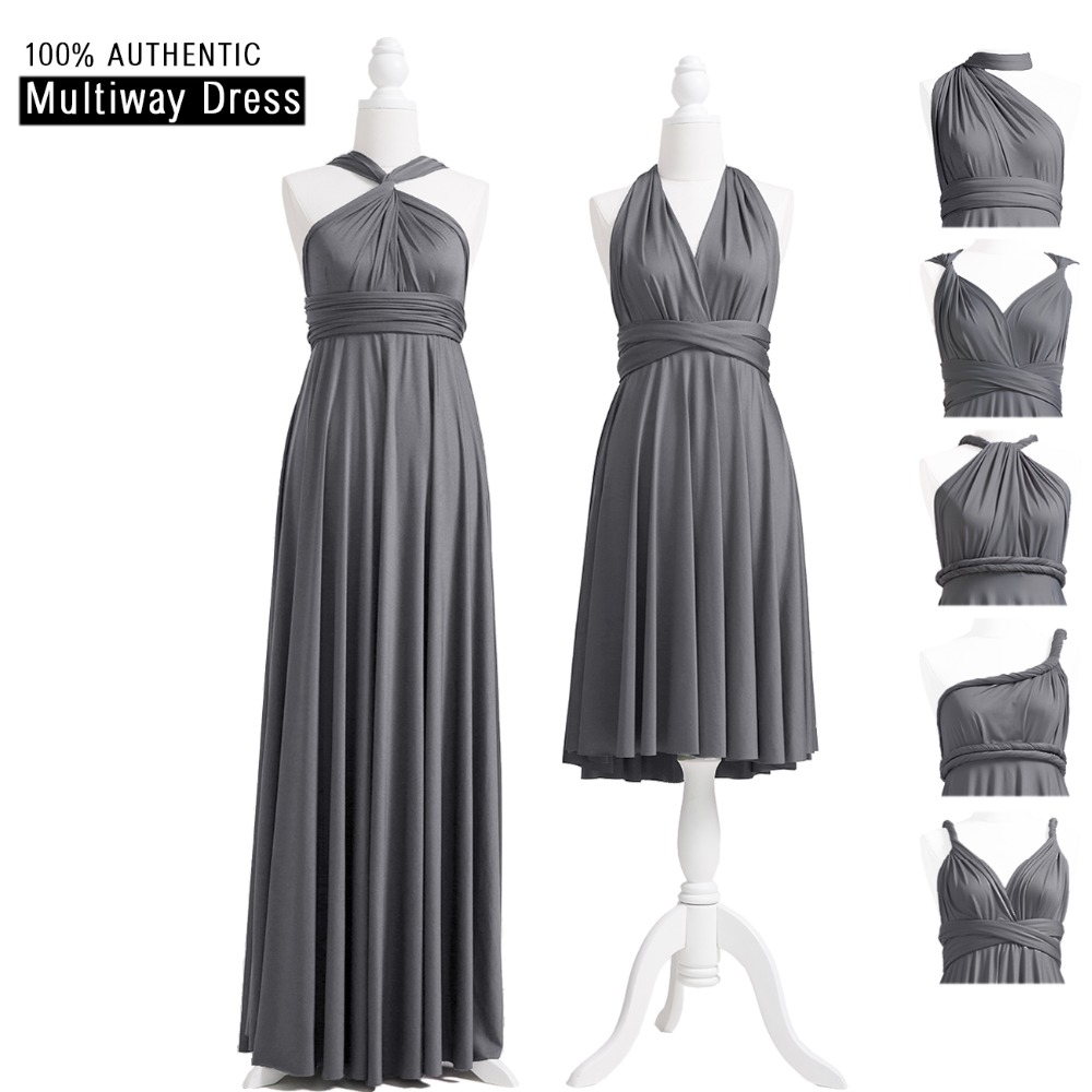 Charcoal Grey   Bridesmaid     Dress   Multiway Long   Dress   Infinity Maxi   Dress   Convertible Floor Length   Dress   With Halter Style