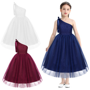 Image 2 - Kids Girls One Shoulder Embroidered Floral Lace Bowknot Flower Girl Dress Princess Pageant Wedding Birthday Party Tulle Dress