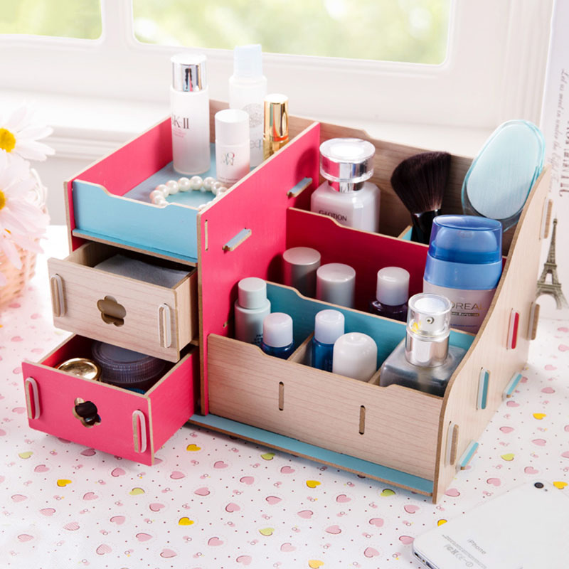 Modern Style Wood Cosmetics Organizer Dresser Top Jewelry Storage Tray With 7 Compartments 2 Drawers In Bo Bins From Home Garden On