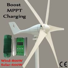 600W Wind Turbine Generator+Boost MPPT charging Wind Solar Hybrid Controller for 800W wind generator and 600W solar panels 3 blades 1000w 48v wind turbine generator with 2500w 48v wind solar hybrid mppt controller with buck and boost function