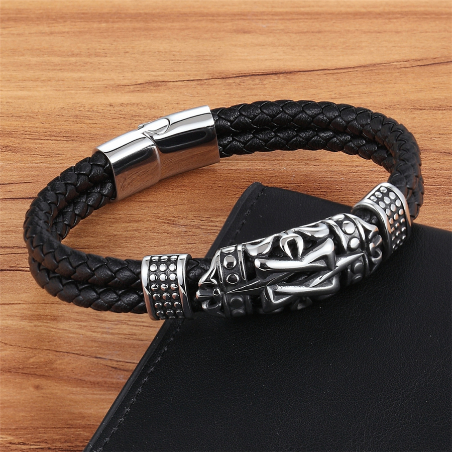 XQNI Punk Style Ancient Architecture Totem Elegant Small Adorn Article Genuine Leather Bracelet Double Layer Hand Jewelry Gift 1