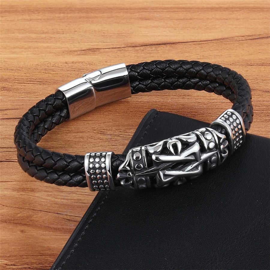 Xqni estilo punk antiga arquitetura totem elegante pequeno adornar artigo genuíno pulseira de couro dupla camada mão jóias presente
