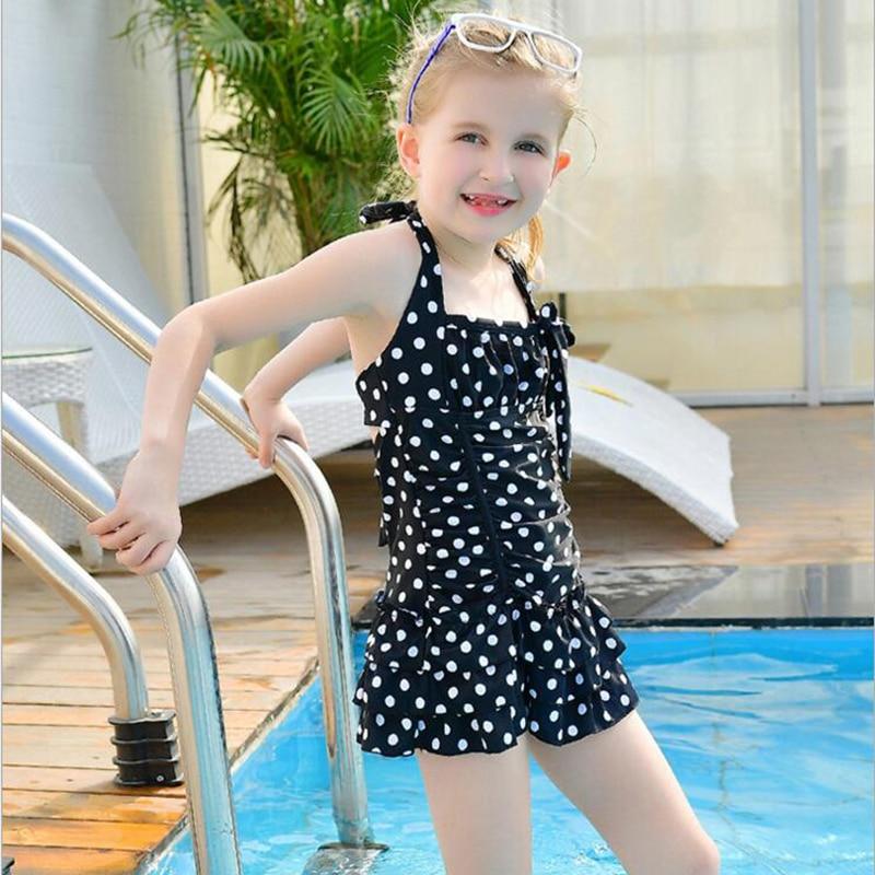 71863c6bf9 White Polka Dot Retro Bathing Girls Bikinis One Piece Swimsuits Baby  Swimwear Red Black Children Swimming Suit Monokini