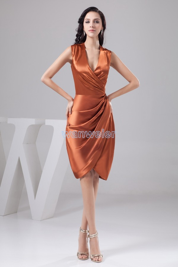 Free Shipping Really Picture 2015 New Design V-neck Cap Sleeve Knee-Length Custom Size/color Pleat Sexy Mermaid Bridesmaid Dress