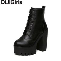 DiJiGirls Women Spring Autumn Casual High Heel Shoes Platform Ankle Boots Motorcycle Biker Block Chunky Ultra
