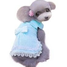 Осенне-зимнее платье для собак, кружевное платье принцессы с бантом для собак, XS-XL одежда для домашних животных для маленьких и средних собак, кошек, 40JA3