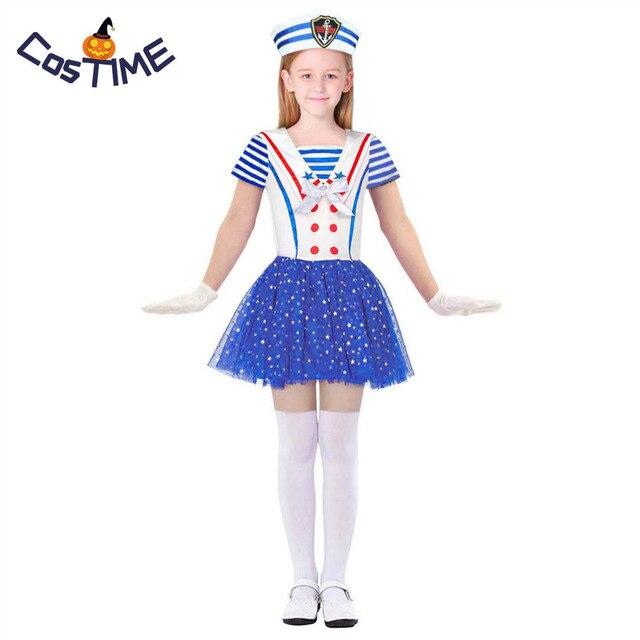 df558e4a8da7 Child Sailor Girl Costume Sweetheart Sailor Costume Nautical Navy Fancy Dress  Halloween Costumes For Kids Litter Girl