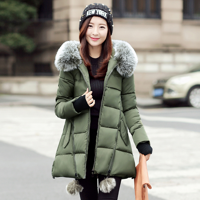 Casacos de inverno Mulheres Moda Gola De Pele Parka Mulheres Casaco Acolchoado Com Capuz Fino DownCotton Jaqueta