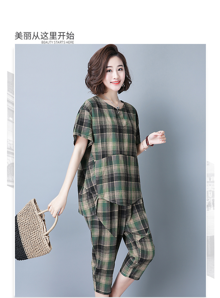 2019 Summer Plaid Cotton Linen Two Piece Sets Outfits Women Plus Size Short Sleeve Tops And Cropped Pants Casual Suits Red Green 48
