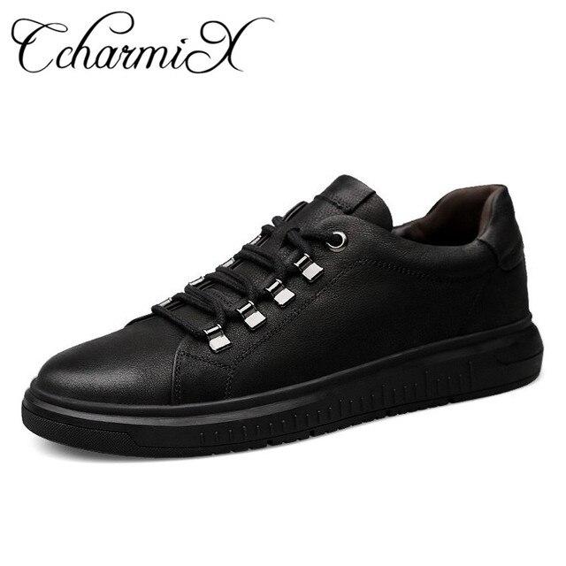 uk availability 456b0 106b2 US $36.2 48% OFF|CcharmiX Mann Schuhe Leder Echtes Herren Sneaker Große  Größen Luxus Italien Marke Herren Wasserdichte Schuhe Hohe Qualität Männer  ...