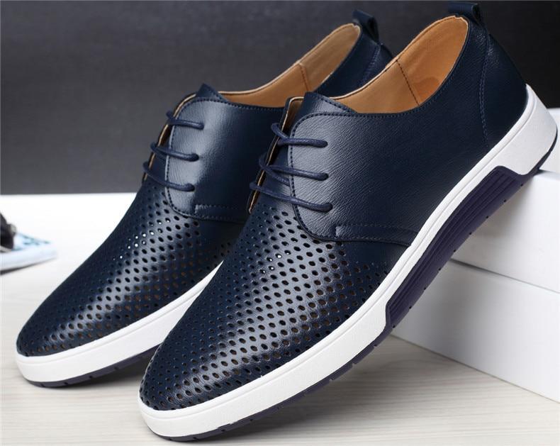 HTB1fdOKaFT7gK0jSZFpq6yTkpXaA Merkmak New Men Casual Shoes Leather Summer Breathable Holes Luxurious Brand Flat Shoes for Men
