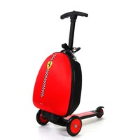 Ferrari Children Travel Boarding box Luggage Trolley Bag Suitcase Scooter Folding Travel Kick Push 3 Wheel For 3 10 years Kids