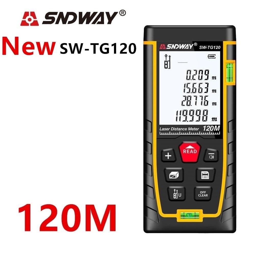 Image 2 - SNDWAY laser rangefinder distance meter 120M 100M 80M 60M 40M laser tape range finder build measure digital ruler trena roulette-in Laser Rangefinders from Tools