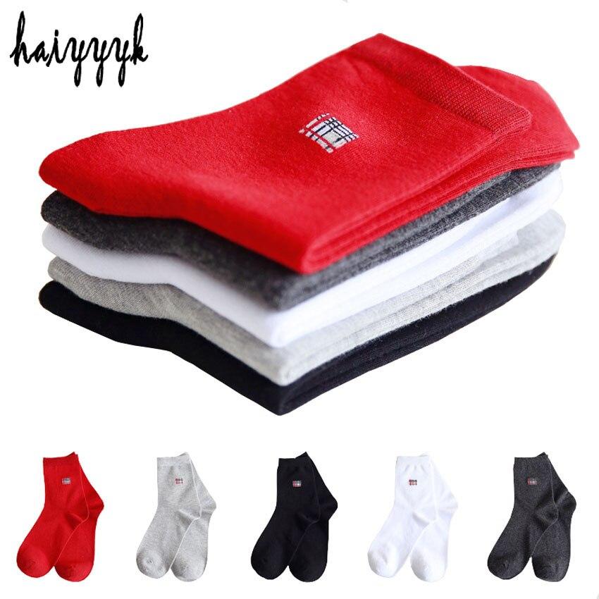 Fashion High Quality Business Men Socks Cotton Deodorant Socks Dress Crew Socks Four Seasons Universal Socks 5 Pairs Size 38-44