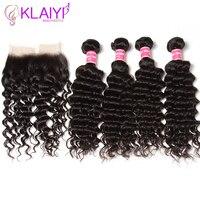 Klaiyi волосы Frontals бразильские волосы глубокие волны пучки с фронтальным 13X4 человеческие волосы Кружева Фронтальная с 4 пучки волосы Remy Weave
