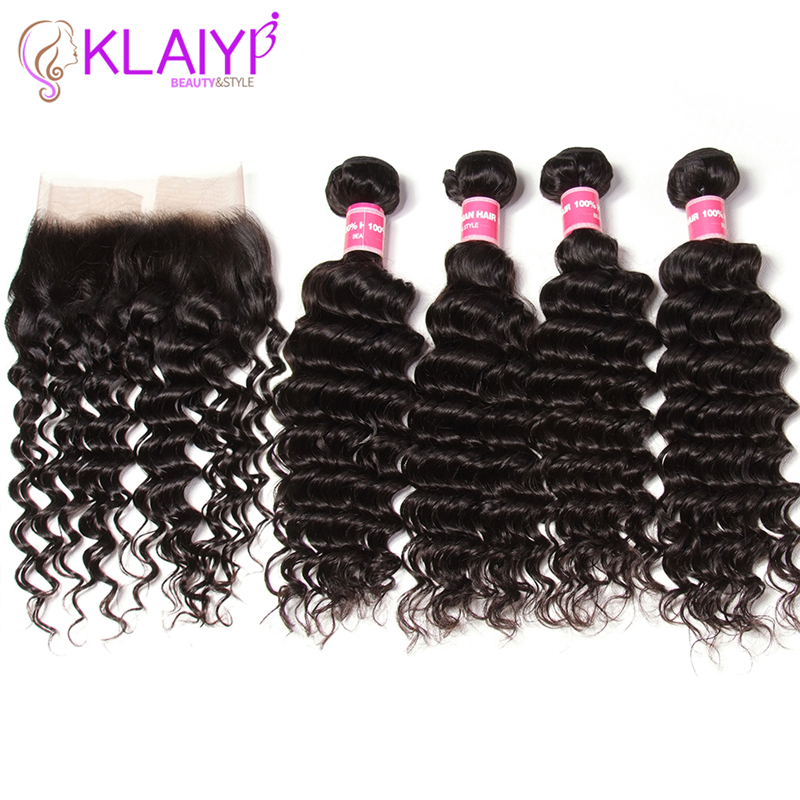 Klaiyi Hair Frontals Brazilian Hair Deep Wave Bundles With Frontal 13X4 Human Hair Lace Frontal With 4 Bundles Remy Hair Weave