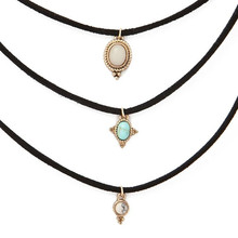 3 Pcs Sets All-match Turquoise Chokers Necklaces Alloy Cute Pendants Necklaces Hot-selling Sets Necklace