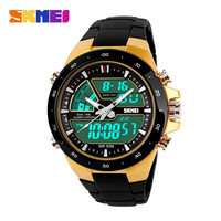 Hot Sale SKMEI Men S Gold Quality Military Dive Swim Watch Dual Time Led Digital Analog