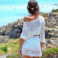 White Beach Blouses Women Sexy Long Blusas Hollow Out Knitted Shirts Crochet V Neck Cover Ups
