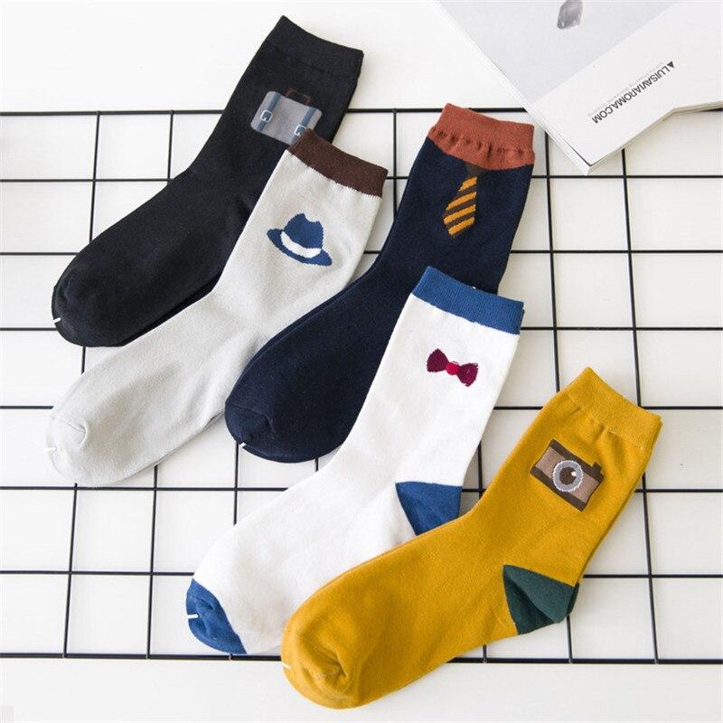 1 Pairs Neuheiten Glücklich Socken Männer Lustige Cartoon Mid Ankle Socke Hohe Qualität Baumwolle Europäischen Stil Fashions Socken 5 Farben SchöNe Lustre