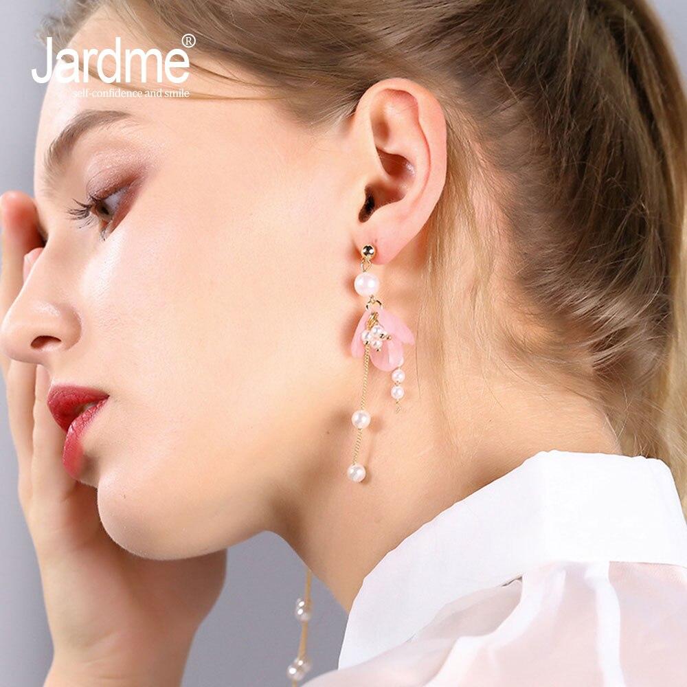 Jardme Pink Long Dangle Earrings for Women Pearl Flower Earrings Korean Earrings Boho High Quality Party Birth Gift Fashion Jewe