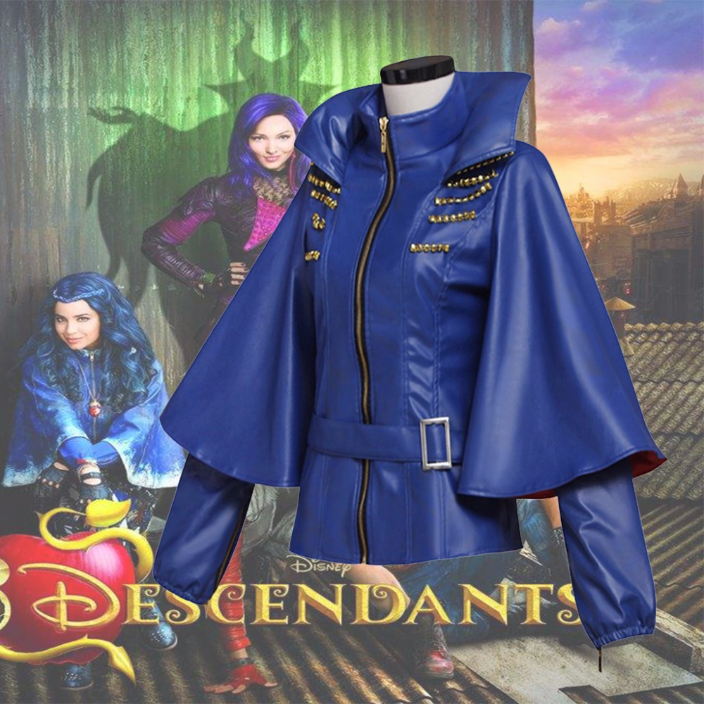 Whole Sale 2017 Movie Descendants Maleficent  Daughter Evil Cosplay Costume Jacket Coat PU Leather Girls Costume L320