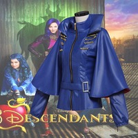 Whole Sale 2017 Movie Descendants Maleficent Daughter Evil Cosplay Costume Jacket Coat PU Leather Girls Costume L320