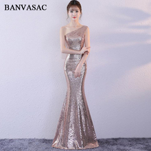 BANVASAC One Shoulder Sequined Sleeveless Mermaid Long Evening Dresses 2018 Elegant Party Backless Prom Gowns