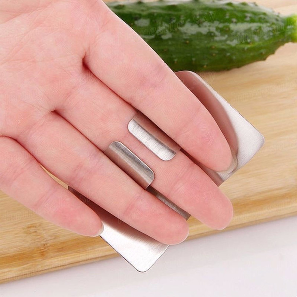 2 pcs Kitchen Stainless Steel Slice Cutting Finger Protector Hand ...